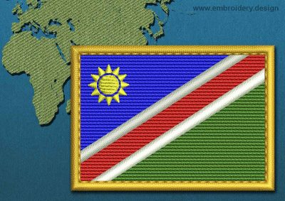 This Flag of Namibia Rectangle with a Gold border design was digitized and embroidered by www.embroidery.design.