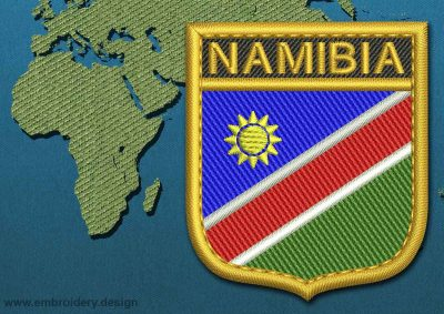 This Flag of Namibia Shield with a Gold border design was digitized and embroidered by www.embroidery.design.