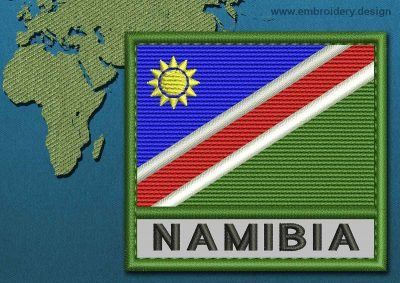 This Flag of Namibia Text with a Colour Coded border design was digitized and embroidered by www.embroidery.design.