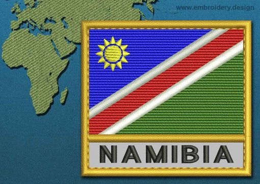 This Flag of Namibia Text with a Gold border design was digitized and embroidered by www.embroidery.design.