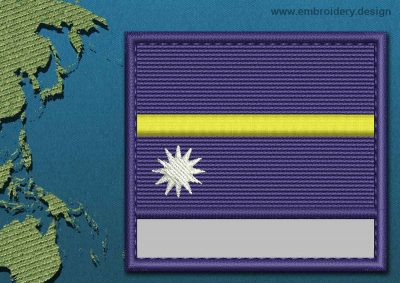 This Flag of Nauru Customizable Text  with a Colour Coded border design was digitized and embroidered by www.embroidery.design.