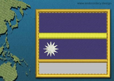 This Flag of Nauru Customizable Text  with a Gold border design was digitized and embroidered by www.embroidery.design.