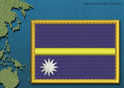 This Flag of Nauru Rectangle with a Gold border design was digitized and embroidered by www.embroidery.design.