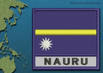 This Flag of Nauru Text with a Colour Coded border design was digitized and embroidered by www.embroidery.design.