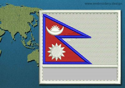 This Flag of Nepal Customizable Text  with a Colour Coded border design was digitized and embroidered by www.embroidery.design.