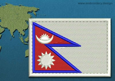 This Flag of Nepal Rectangle with a Colour Coded border design was digitized and embroidered by www.embroidery.design.