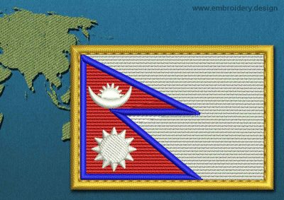 This Flag of Nepal Rectangle with a Gold border design was digitized and embroidered by www.embroidery.design.