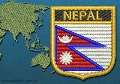 This Flag of Nepal Shield with a Gold border design was digitized and embroidered by www.embroidery.design.