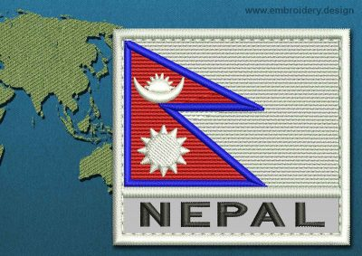 This Flag of Nepal Text with a Colour Coded border design was digitized and embroidered by www.embroidery.design.