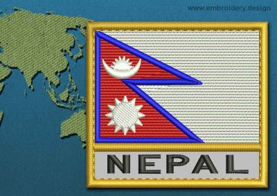 This Flag of Nepal Text with a Gold border design was digitized and embroidered by www.embroidery.design.