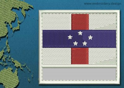 This Flag of Netherlands Antilles Customizable Text  with a Colour Coded border design was digitized and embroidered by www.embroidery.design.