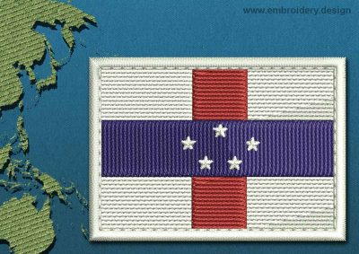 This Flag of Netherlands Antilles Rectangle with a Colour Coded border design was digitized and embroidered by www.embroidery.design.