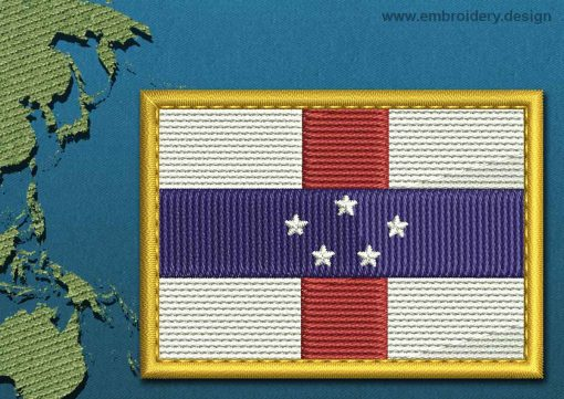 This Flag of Netherlands Antilles Rectangle with a Gold border design was digitized and embroidered by www.embroidery.design.