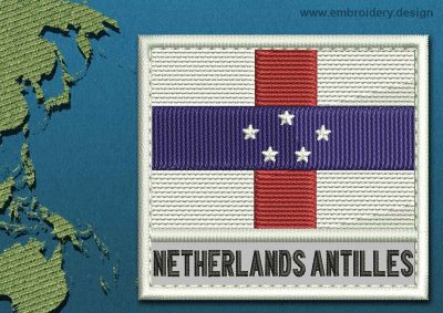 This Flag of Netherlands Antilles Text with a Colour Coded border design was digitized and embroidered by www.embroidery.design.