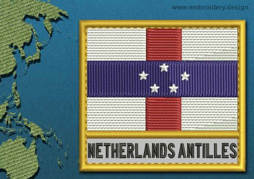 This Flag of Netherlands Antilles Text with a Gold border design was digitized and embroidered by www.embroidery.design.