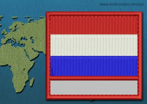 This Flag of Netherlands Customizable Text  with a Colour Coded border design was digitized and embroidered by www.embroidery.design.