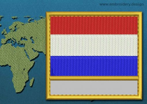 This Flag of Netherlands Customizable Text  with a Gold border design was digitized and embroidered by www.embroidery.design.