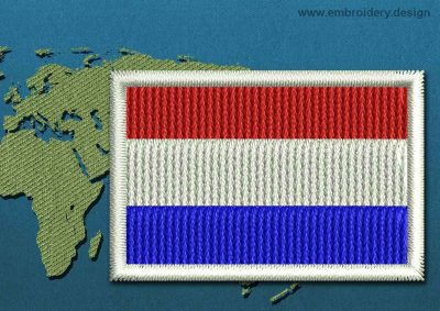 This Flag of Netherlands Mini with a Colour Coded border design was digitized and embroidered by www.embroidery.design.