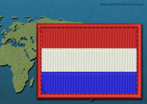 This Flag of Netherlands Rectangle with a Colour Coded border design was digitized and embroidered by www.embroidery.design.