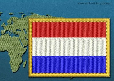 This Flag of Netherlands Rectangle with a Gold border design was digitized and embroidered by www.embroidery.design.