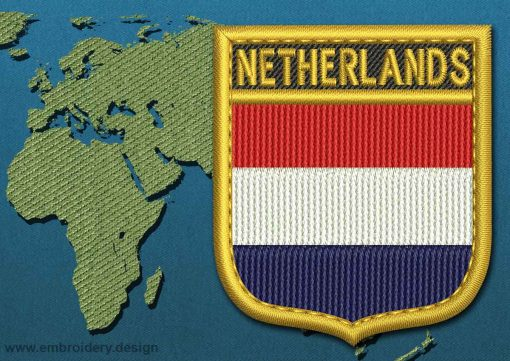 This Flag of Netherlands Shield with a Gold border design was digitized and embroidered by www.embroidery.design.