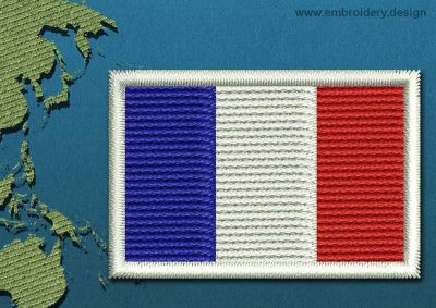This Flag of New Caledonia Mini with a Colour Coded border design was digitized and embroidered by www.embroidery.design.