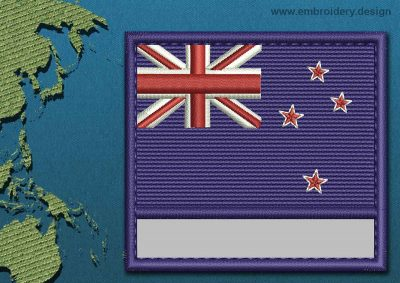 This Flag of New Zealand Customizable Text  with a Colour Coded border design was digitized and embroidered by www.embroidery.design.