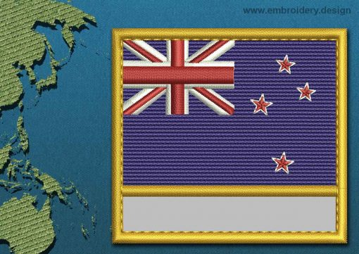 This Flag of New Zealand Customizable Text  with a Gold border design was digitized and embroidered by www.embroidery.design.