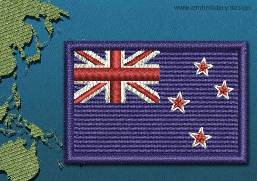 This Flag of New Zealand Mini with a Colour Coded border design was digitized and embroidered by www.embroidery.design.