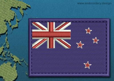 This Flag of New Zealand Rectangle with a Colour Coded border design was digitized and embroidered by www.embroidery.design.
