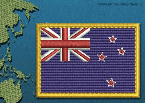 This Flag of New Zealand Rectangle with a Gold border design was digitized and embroidered by www.embroidery.design.
