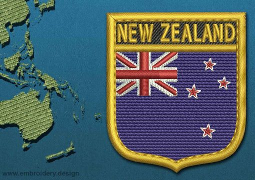 This Flag of New Zealand Shield with a Gold border design was digitized and embroidered by www.embroidery.design.