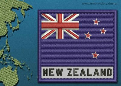 This Flag of New Zealand Text with a Colour Coded border design was digitized and embroidered by www.embroidery.design.