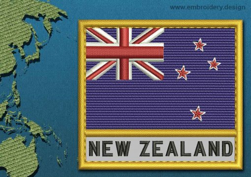 This Flag of New Zealand Text with a Gold border design was digitized and embroidered by www.embroidery.design.