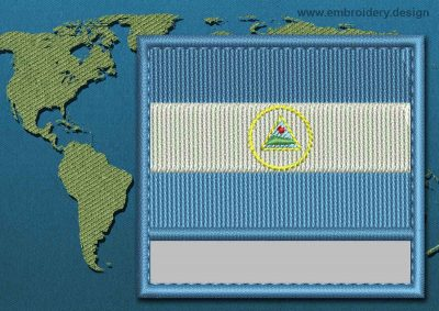 This Flag of Nicaragua Customizable Text  with a Colour Coded border design was digitized and embroidered by www.embroidery.design.