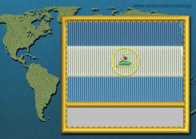 This Flag of Nicaragua Customizable Text  with a Gold border design was digitized and embroidered by www.embroidery.design.