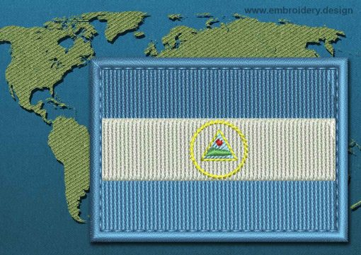 This Flag of Nicaragua Rectangle with a Colour Coded border design was digitized and embroidered by www.embroidery.design.