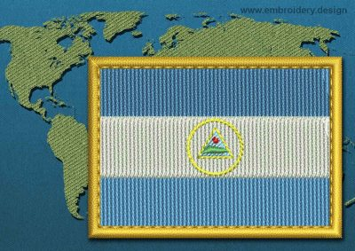 This Flag of Nicaragua Rectangle with a Gold border design was digitized and embroidered by www.embroidery.design.