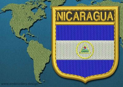 This Flag of Nicaragua Shield with a Gold border design was digitized and embroidered by www.embroidery.design.
