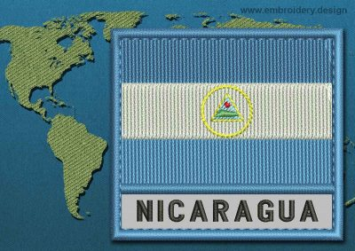 This Flag of Nicaragua Text with a Colour Coded border design was digitized and embroidered by www.embroidery.design.