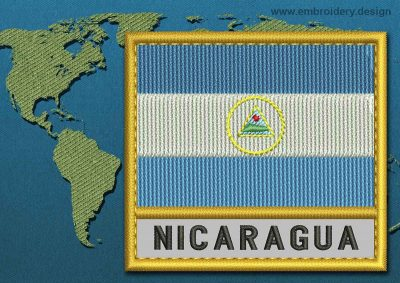 This Flag of Nicaragua Text with a Gold border design was digitized and embroidered by www.embroidery.design.
