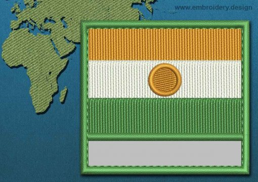This Flag of Niger Customizable Text  with a Colour Coded border design was digitized and embroidered by www.embroidery.design.