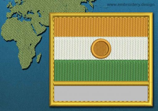 This Flag of Niger Customizable Text  with a Gold border design was digitized and embroidered by www.embroidery.design.