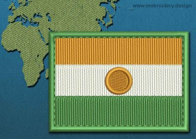 This Flag of Niger Rectangle with a Colour Coded border design was digitized and embroidered by www.embroidery.design.