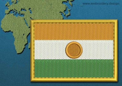 This Flag of Niger Rectangle with a Gold border design was digitized and embroidered by www.embroidery.design.