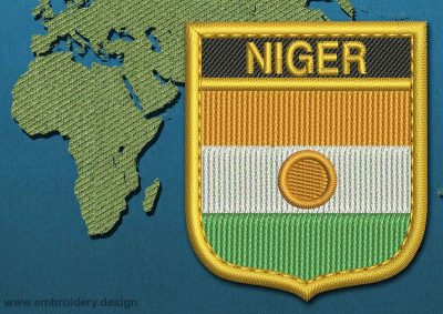 This Flag of Niger Shield with a Gold border design was digitized and embroidered by www.embroidery.design.