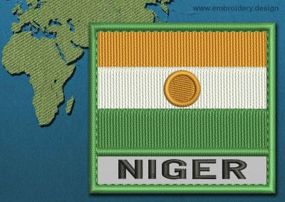 This Flag of Niger Text with a Colour Coded border design was digitized and embroidered by www.embroidery.design.