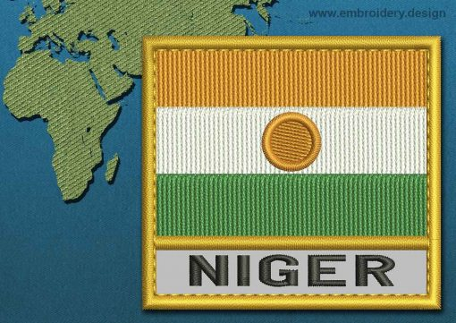 This Flag of Niger Text with a Gold border design was digitized and embroidered by www.embroidery.design.