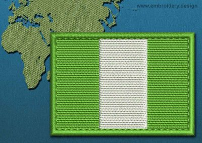 This Flag of Nigeria Rectangle with a Colour Coded border design was digitized and embroidered by www.embroidery.design.