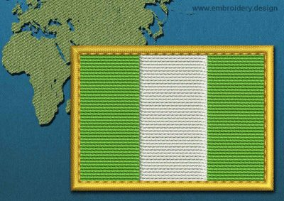 This Flag of Nigeria Rectangle with a Gold border design was digitized and embroidered by www.embroidery.design.